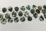 CSB4187 Top drilled 12*16mm flat teardrop balone shell beads