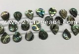 CSB4188 Top drilled 13*18mm flat teardrop balone shell beads