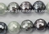 CSB463 15.5 inches 14mm faceted round mixed color shell pearl beads