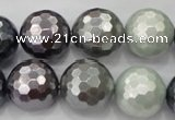 CSB464 15.5 inches 16mm faceted round mixed color shell pearl beads