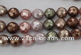 CSB500 15.5 inches 8mm faceted round mixed color shell pearl beads