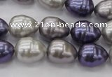 CSB551 15.5 inches 12*15mm whorl teardrop mixed color shell pearl beads