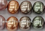 CSB716 15.5 inches 16*19mm oval mixed color shell pearl beads