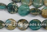 CSE5030 15.5 inches 14mm flat round natural sea sediment jasper beads