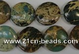 CSE5034 15.5 inches 18mm flat round natural sea sediment jasper beads