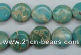 CSE84 15.5 inches 14mm flat round dyed natural sea sediment jasper beads