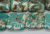 CSE90 15.5 inches 20*20mm square dyed natural sea sediment jasper beads