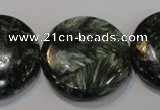 CSH128 15.5 inches 30mm flat round natural seraphinite gemstone beads