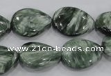 CSH51 15*20mm flat teardrop natural seraphinite gemstone beads