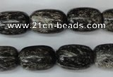 CSI22 15.5 inches 13*18mm drum silver scale stone beads wholesale