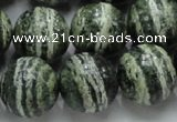 CSJ07 15.5 inches 16mm round green silver line jasper beads wholesale