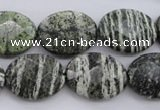 CSJ113 15.5 inches 15*20mm faceted oval green silver line jasper beads