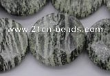 CSJ123 15.5 inches 30mm faceted coin green silver line jasper beads
