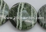 CSJ125 15.5 inches 40mm faceted coin green silver line jasper beads