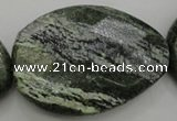 CSJ129 15.5 inches 35*42mm faceted freeform green silver line jasper beads