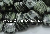 CSJ27 15.5 inches 12*12mm square green silver line jasper beads