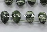 CSJ86 Top-drilled 10*14mm faceted teardrop green silver line jasper beads
