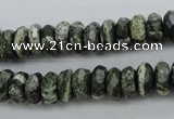 CSJ95 15.5 inches 5*10mm faceted rondelle green silver line jasper beads