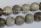 CSL12 15.5 inches 12mm round silver leaf jasper beads wholesale