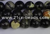 CSL212 15.5 inches 8mm round black silver leaf jasper beads