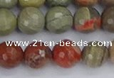 CSL233 15.5 inches 10mm faceted round silver leaf jasper beads
