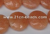 CSM30 15.5 inches 20mm flat round salmon stone beads wholesale