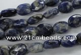 CSO251 15.5 inches 8*10mm faceted oval sodalite gemstone beads