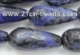 CSO39 15.5 inches 10*30mm faceted teardrop sodalite gemstone beads