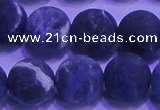 CSO458 15.5 inches 14mm round matte sodalite gemstone beads