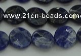 CSO706 15.5 inches 12mm faceted coin sodalite gemstone beads