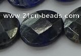 CSO711 15.5 inches 25mm faceted coin sodalite gemstone beads