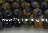 CSO752 15.5 inches 8mm faceted round orange sodalite beads
