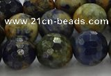 CSO755 15.5 inches 14mm faceted round orange sodalite beads