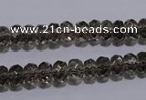 CSQ109 5*8mm faceted rondelle grade AA natural smoky quartz beads