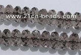CSQ111 7*12mm faceted rondelle grade AA natural smoky quartz beads