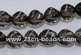 CSQ116 9*12mm twisted rice grade AA natural smoky quartz beads