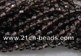 CSQ129 15.5 inches 4mm faceted round grade AA natural smoky quartz beads