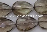 CSQ205 18*25mm faceted flat teardrop grade AA natural smoky quartz beads