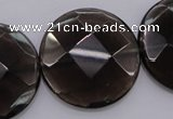 CSQ221 15.5 inches 30mm faceted coin grade AA natural smoky quartz beads