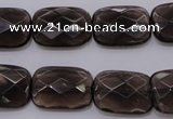 CSQ225 13*18mm faceted rectangle grade AA natural smoky quartz beads