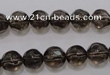 CSQ240 15.5 inches 10mm faceted round grade AA natural smoky quartz beads