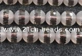 CSQ507 15.5 inches 8mm faceted round matte smoky quartz beads