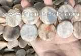 CSS422 15.5 inches 30mm flat round sunstone beads wholesale