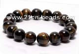 CTB03 7 inches 10mm round blue tiger eye stretch bracelet
