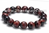 CTB09 7.5 inches 10mm round red tiger eye stretch bracelet