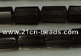 CTB100 15.5 inches 8*12mm faceted tube smoky quartz beads