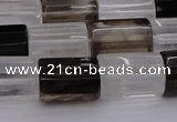 CTB102 11*15mm faceted tube white crystal & smoky quartz beads
