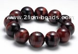 CTB11 9 inches 18mm round red tiger eye stretch bracelet