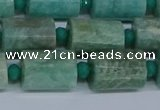 CTB208 15.5 inches 10*15mm faceted tube amazonite beads