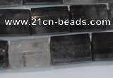 CTB216 15.5 inches 13*18mm faceted tube cloudy quartz beads